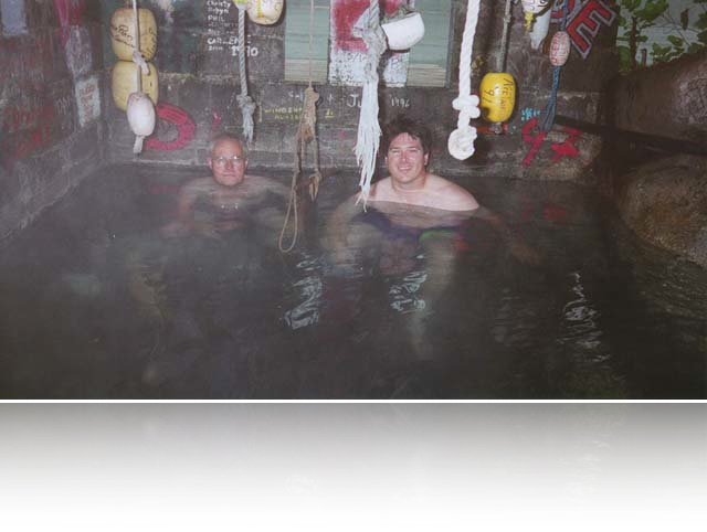 barry and john in the hot springs